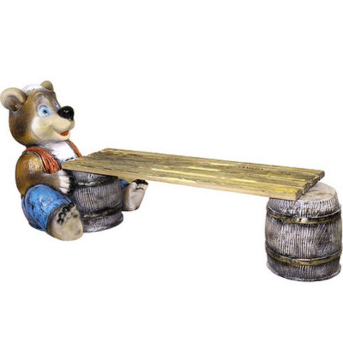 """Скамейка """"Медведь с бочонком №2"""""""