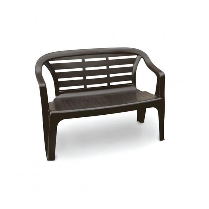 Скамья FLORES 2-местная, 114 × 55 × 82 см, пластик, коричневый