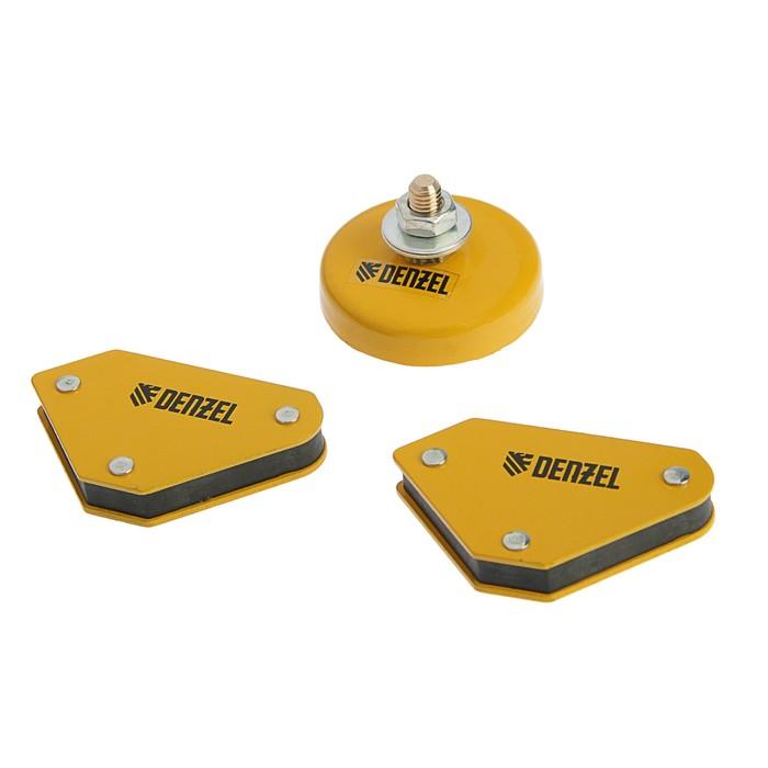 Набор магнитных угольников и магнитной клеммы Denzel 97557, усилие 4 кг, 45/90/135°, 200 А