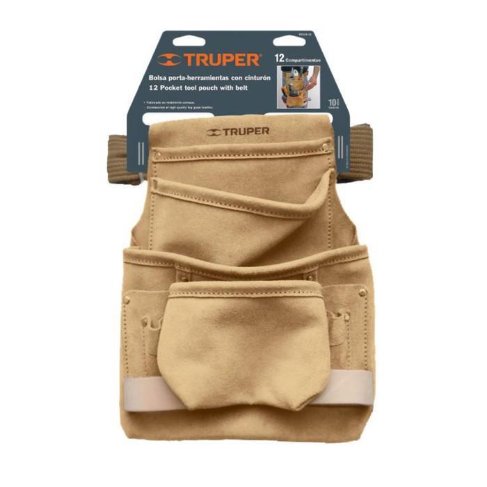 Поясная сумка для инструмента TRUPER POCA-12, кожа 1.8 мм, 12 отделений, 26х34 см