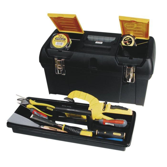 """Ящик для инструментов Stanley 1-92-067, 24"""", 2 органайзера, пластик, металлический замок"""