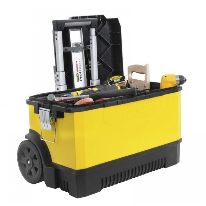 Ящик для инструментов Stanley 1-95-827, на колесах, металлопластиковый, желтый