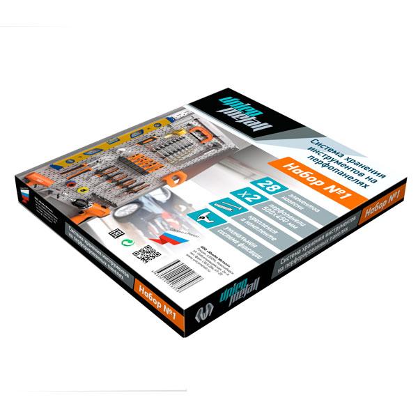 Система хранения инструментов Unico Metall In Box №1, 28 предметов (RAL9006)