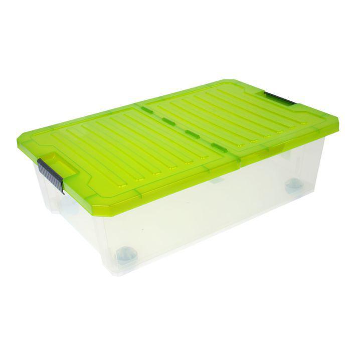 Ящик для хранения 30 л Unibox, на роликах со складной крышкой, цвет МИКС