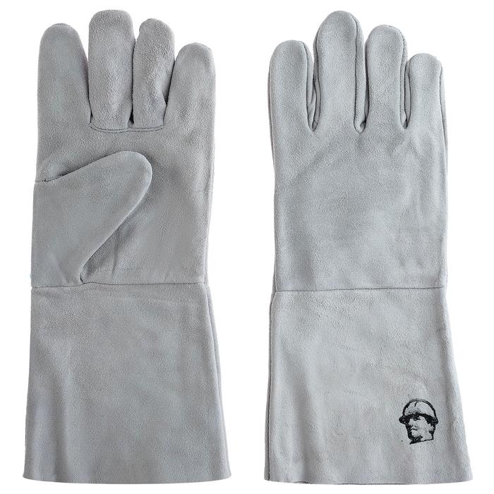 Перчатки краги «Люкс» без подкладки 35 см, цвет серый