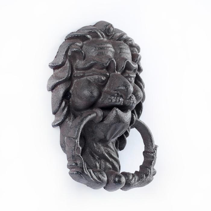 """Молоток дверной """"Мудрый лев"""", цвет черный, 13*18см"""