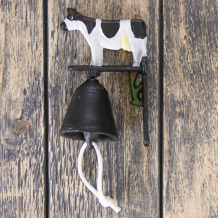 "Настенный колокольчик ""Корова"", винтаж, чугун, 9*12см"