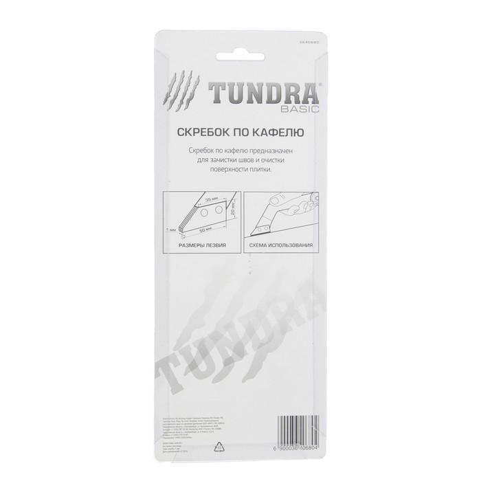 Скребок по кафелю TUNDRA basic, пластик, 2 лезвия, вольфрам-карбидное напыление, 50 мм