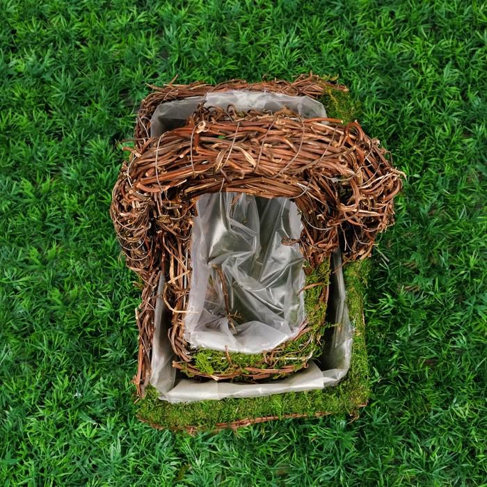 Набор корзин плетеных, 2 шт, с натуральным декором, 26 х 17 х 29 - 20 х 11 х 22 см