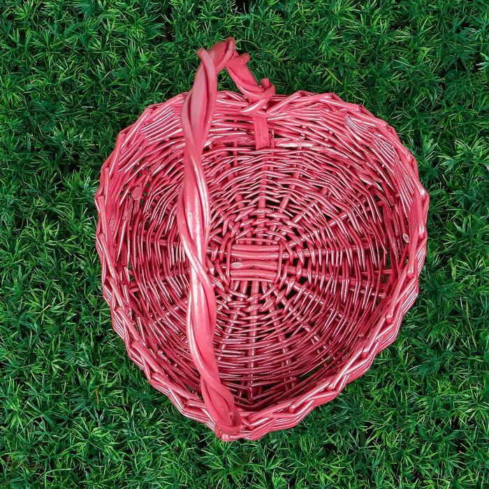 Корзина «Сердце», с ручкой, 24×23×8/27 см, розовая, лоза