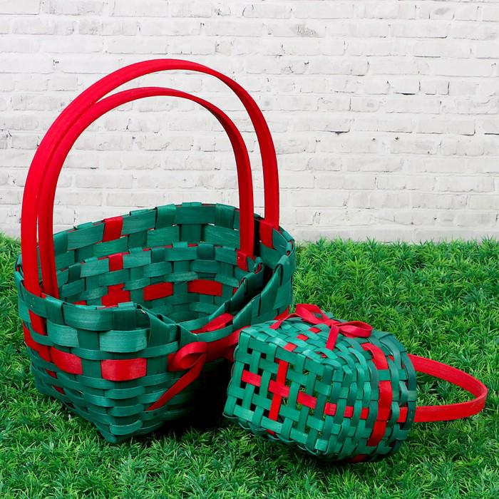 Набор корзин «Сумочка», зелёные, 3 шт: 27×21×9,5/33, 21×15×8,5/30,5, 16×10×7,5/27 см