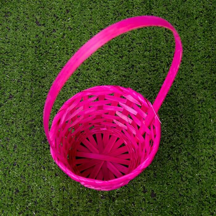 Корзина плетёная, бамбук, розовая