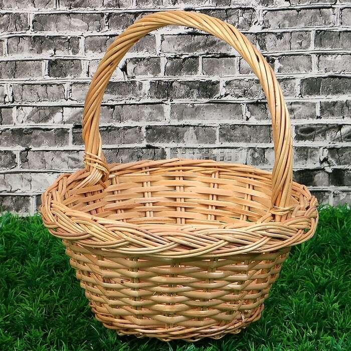 Корзина «Ягодное лукошко», №1, Dдно=12 см, Dверх=20 см, H=12/25 см, ручное плетение, лоза