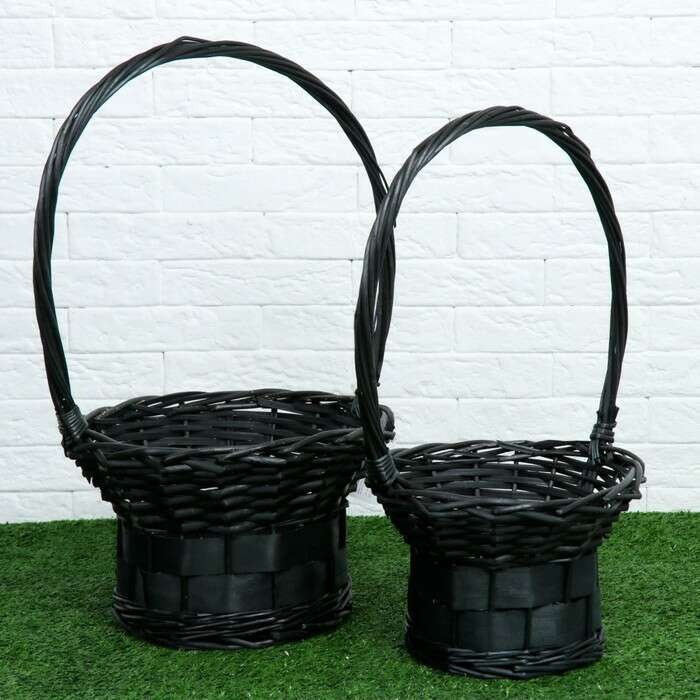 Набор корзин «Презент», 2 шт, 30×18/48 см, 24×16/45 см, чёрный, ива