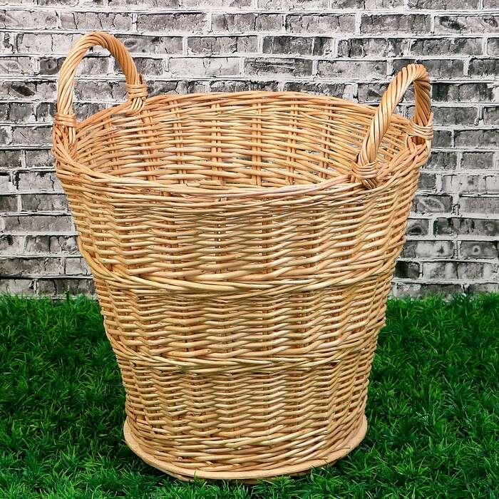 Корзина «Садовод», дно фанера:20×20 см, верх: 30×30 см, H=35/45 см, ручное плетение, лоза