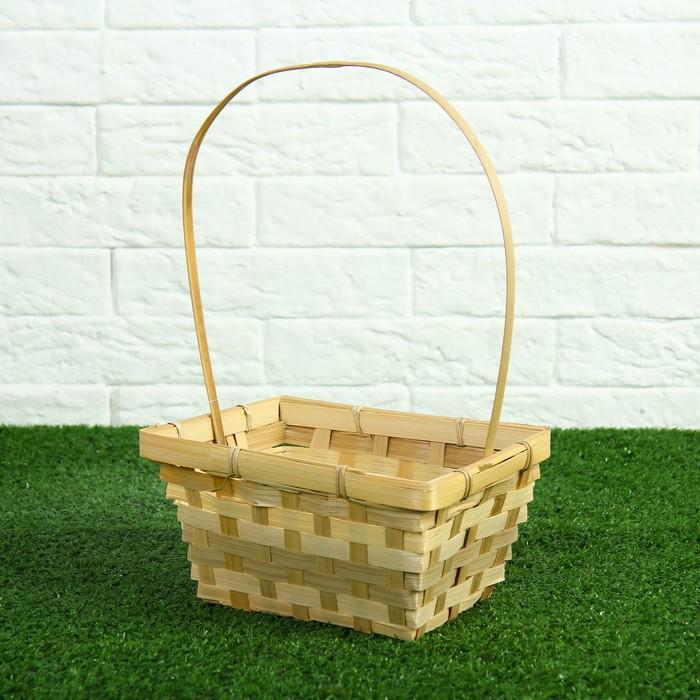 Корзина плетёная, бамбук, прямоугольная, натуральный цвет