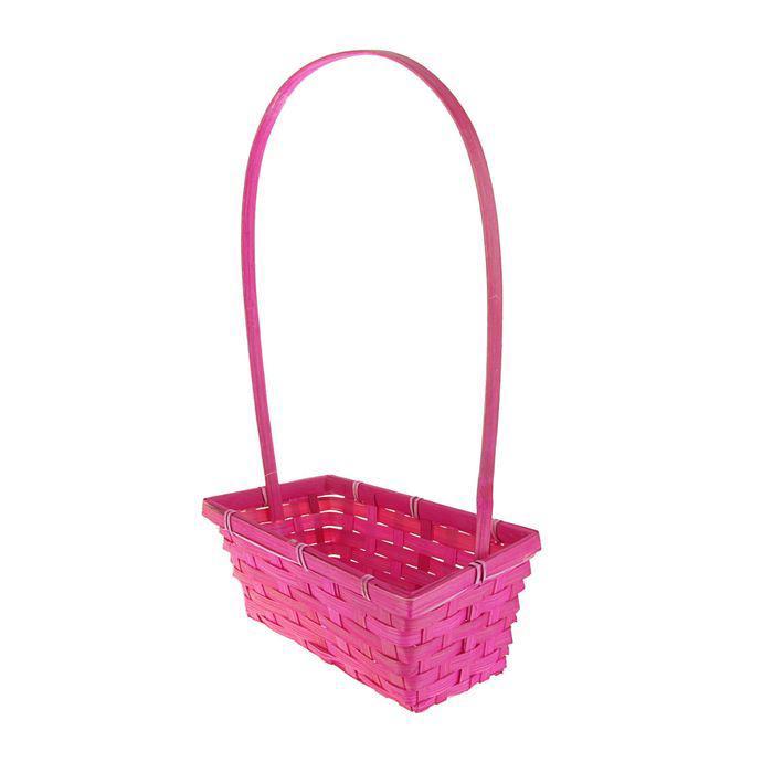 Корзина плетёная, бамбук, розовая, прямоугольная, средняя