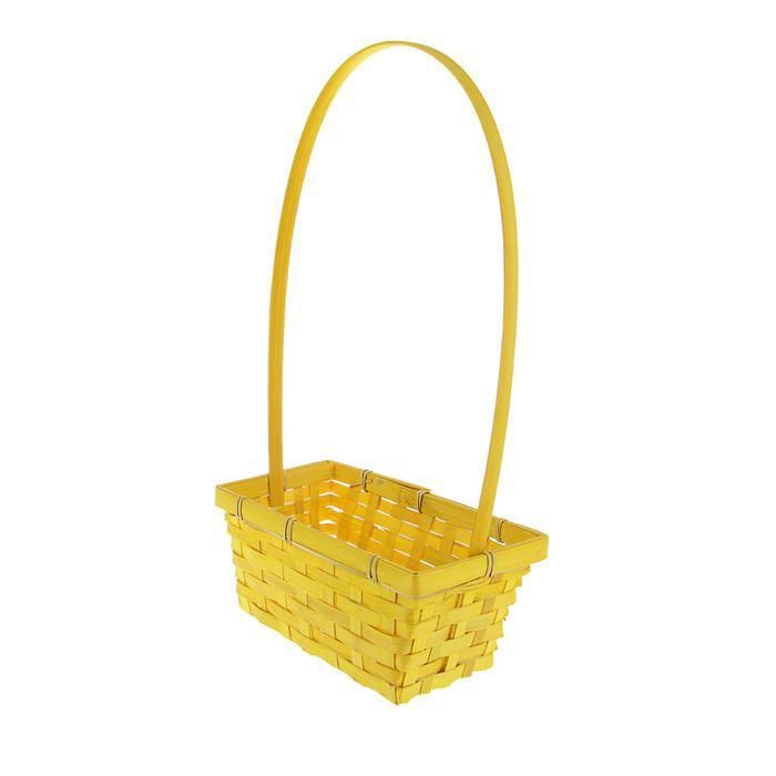 Корзина плетёная, бамбук, жёлтая, прямоугольная, средняя