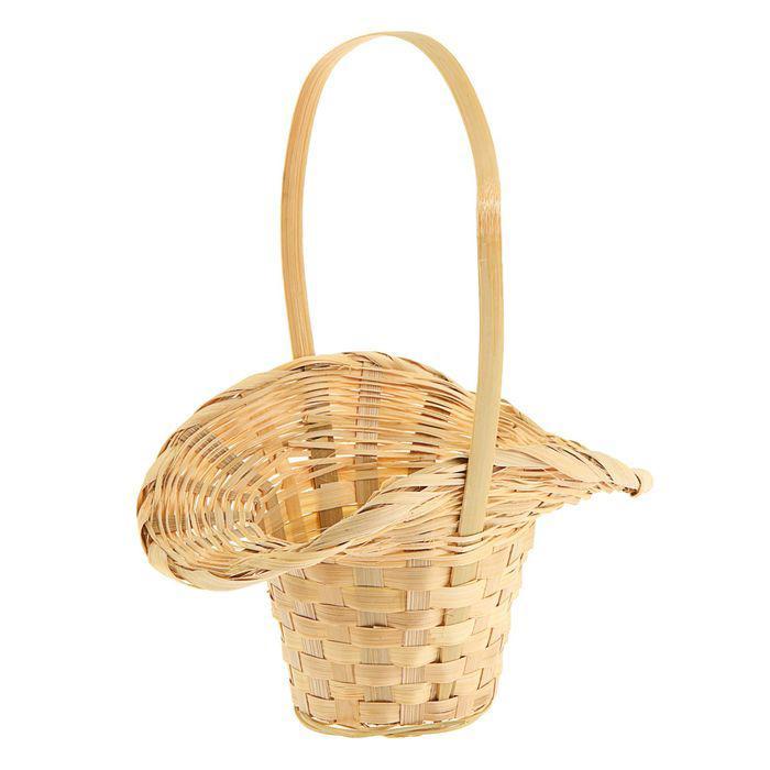Корзина плетёная, бамбук, натуральный цвет, (шляпка с изгибом)
