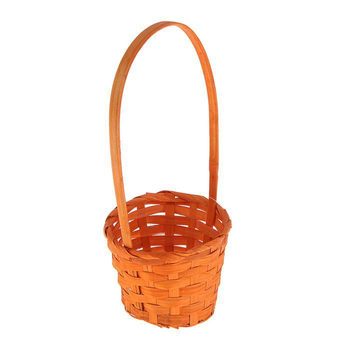 Корзина плетёная, бамбук, оранжевая, средняя
