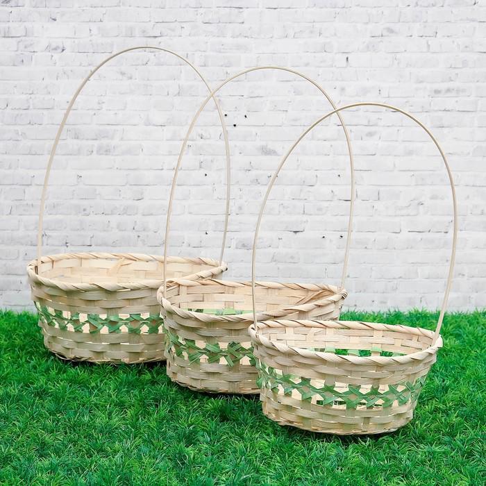 Набор корзин плетеных бамбук: 22X18XH10/34см; 24X19XH10/36см; 27X21XH10/38см, зеленая, 3 шт   382326