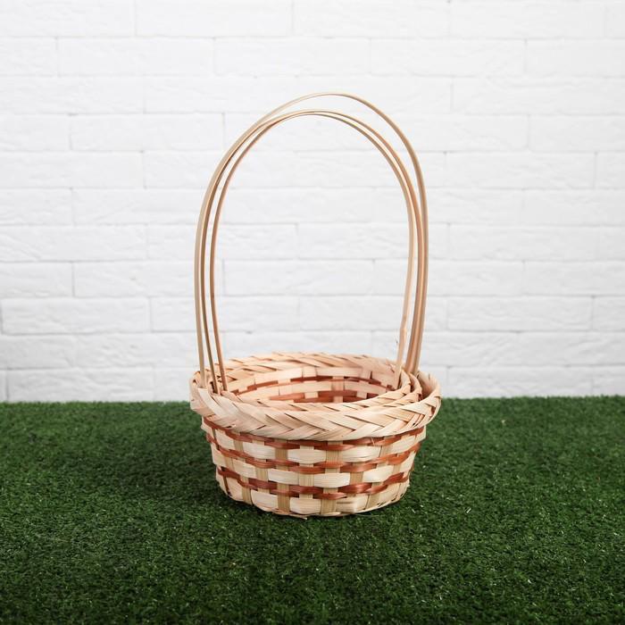 Набор корзин плетёных, бамбук, 3 шт., натуральный цвет, тёмная полоса