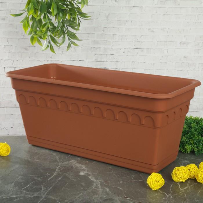 """Ящик для растений балконный с поддоном 40 см """"Колывань"""", цвет терракотовый"""