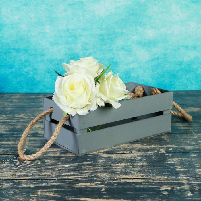 """Ящик-кашпо подарочный """"Двушка Лайт"""", двухреечный, ручка-верёвка, серый"""