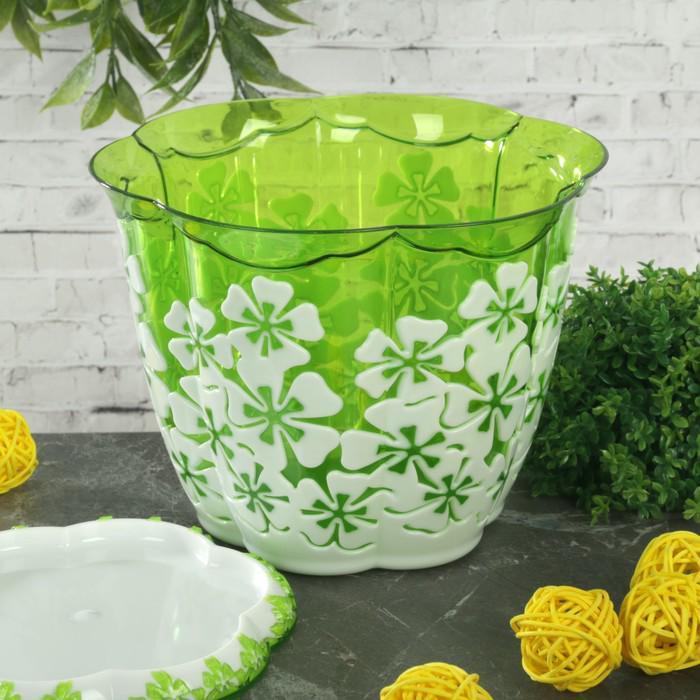 """Горшок для цветов с поддоном 1,5 л """"Камелия"""", цвет бело-зеленый"""