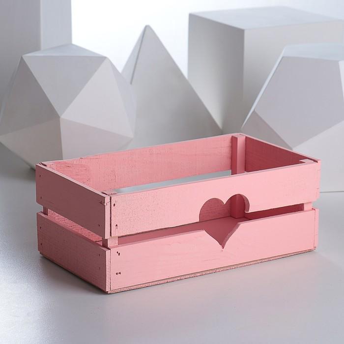 "Ящик реечный ""Сердце"", теплая роза, 24.5 х 13.5 х 9 см"