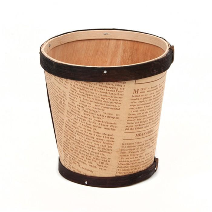 Кашпо «Газета» из шпона, с коричневой каймой, 12 x 11.5 см, бежевый