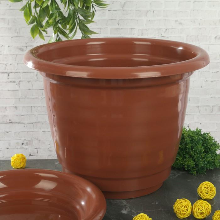 """Горшок для цветов с поддоном 10 л """"Виола"""", цвет коричневый"""