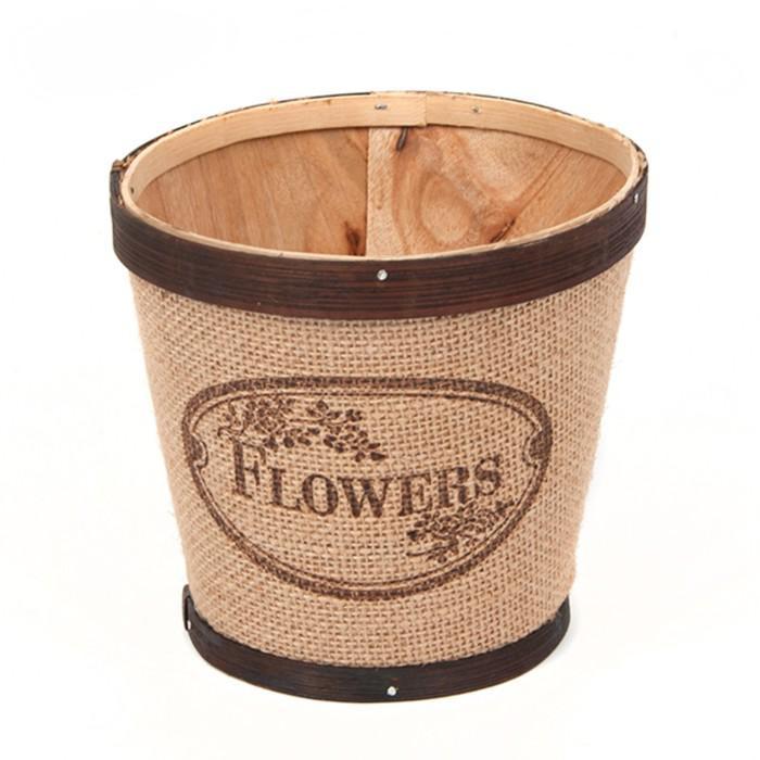 Кашпо «Flowers» из шпона, с коричневой каймой, 13 x 14 см, бежевый