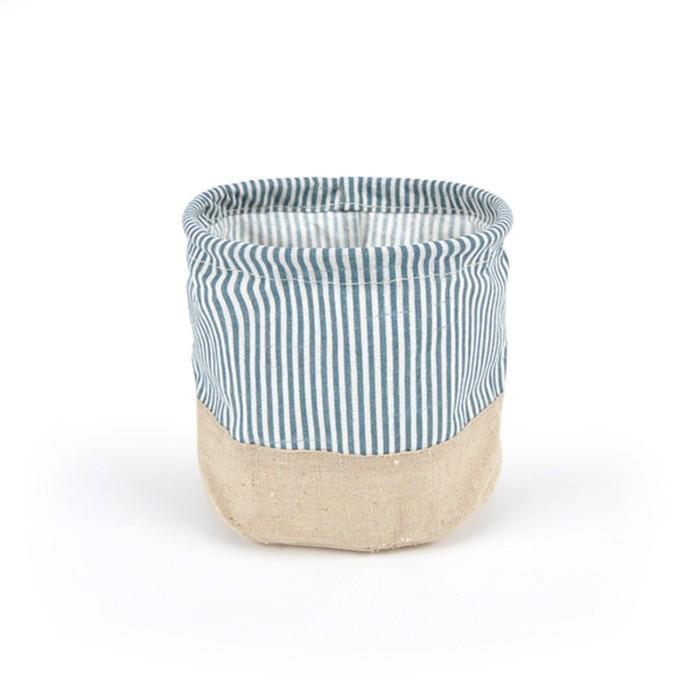 """Кашпо из ткани """"Полоса"""", синее, 15 x 15 см"""