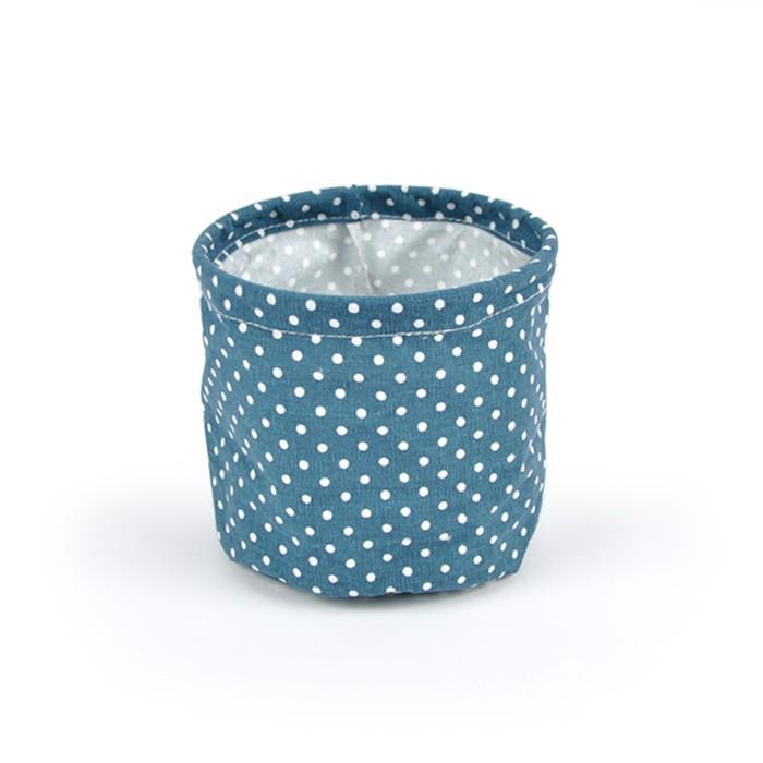 """Кашпо из ткани """"Горох"""", синее, 15 x 15 см"""
