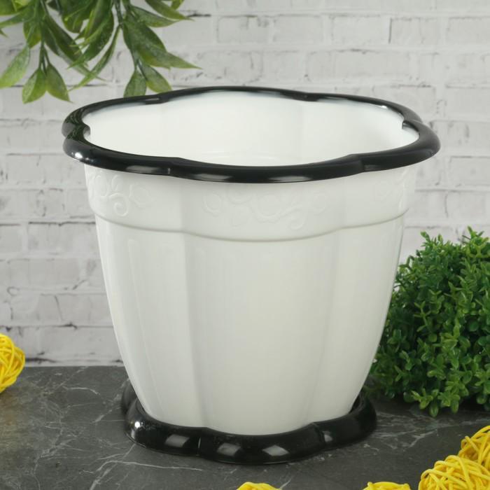 """Горшок для цветов с поддоном 1,5 л """"Восторг"""", цвет белый"""