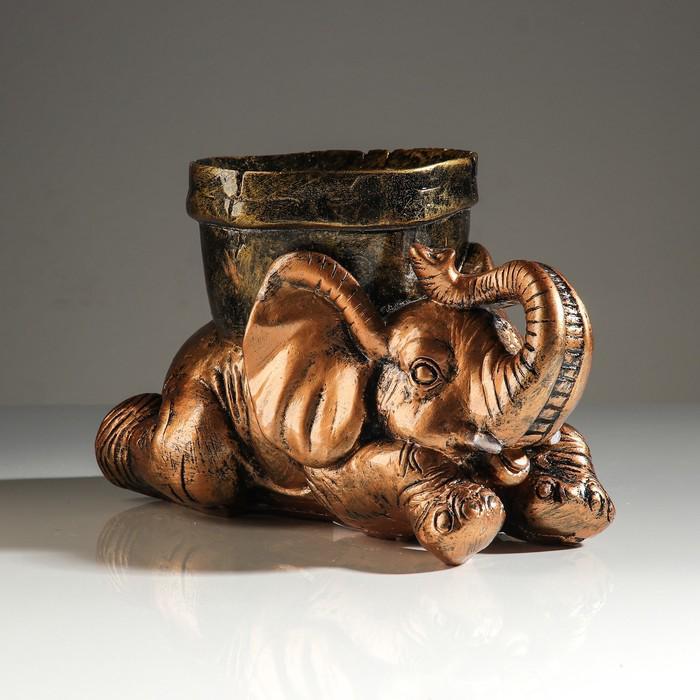"""Кашпо """"Слон с горшком"""" бронза, 16 см"""