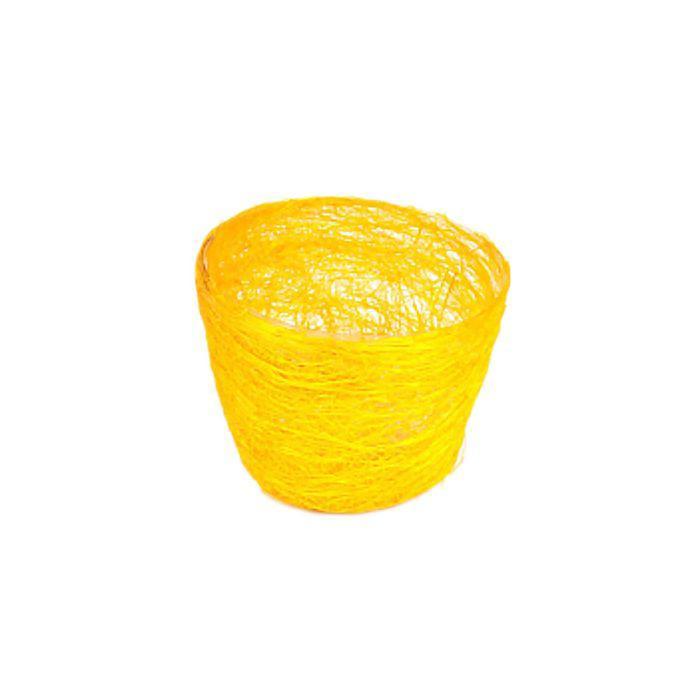 Кашпо, сизаль, круг, гиацинт жёлтая 7 х 10 см