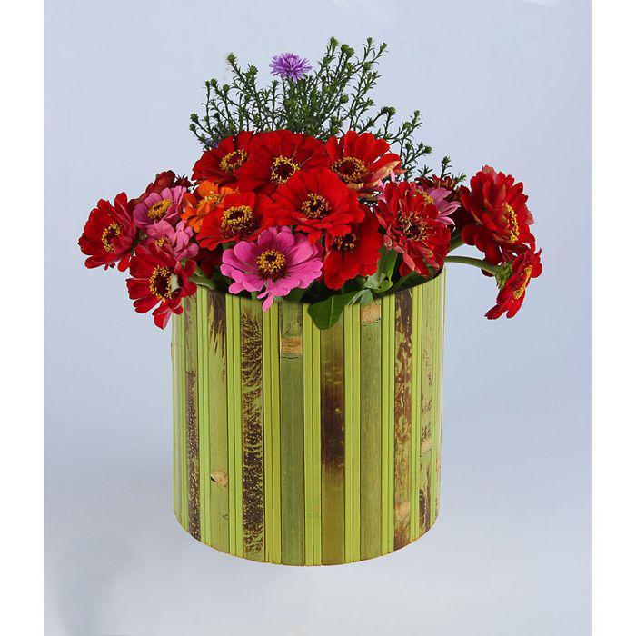 """Коробка подарочная """"Шляпная"""", бамбук, зеленая, 25 х 30 см"""