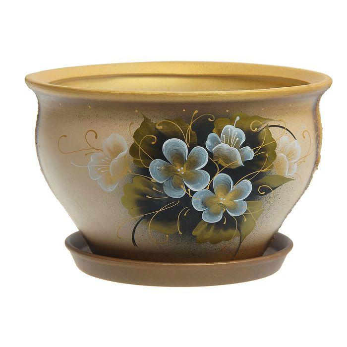 """Цветочный горшок """"Тюльпан"""" цветы, бежевый, микс 10 л"""