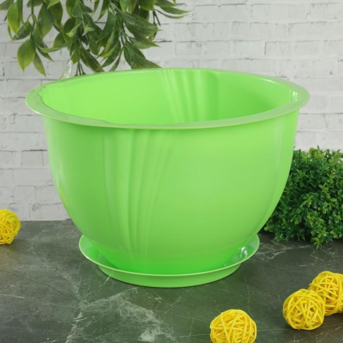 """Кашпо с поддоном 2,8 л """"Diana"""", цвет зелёный"""