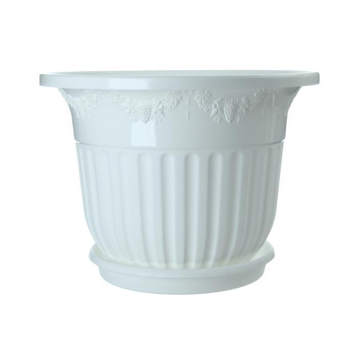 """Горшок-кашпо с поддоном 40 л """"Лозанна"""", цвет белый"""