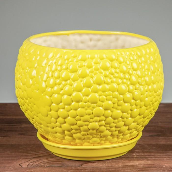 """Горшок для цветов """"Пузыри"""" лимон 9 л"""