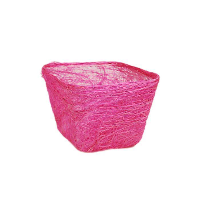Кашпо, сизаль, квадрат, ярко-розовая 10 х 14 х 14 см