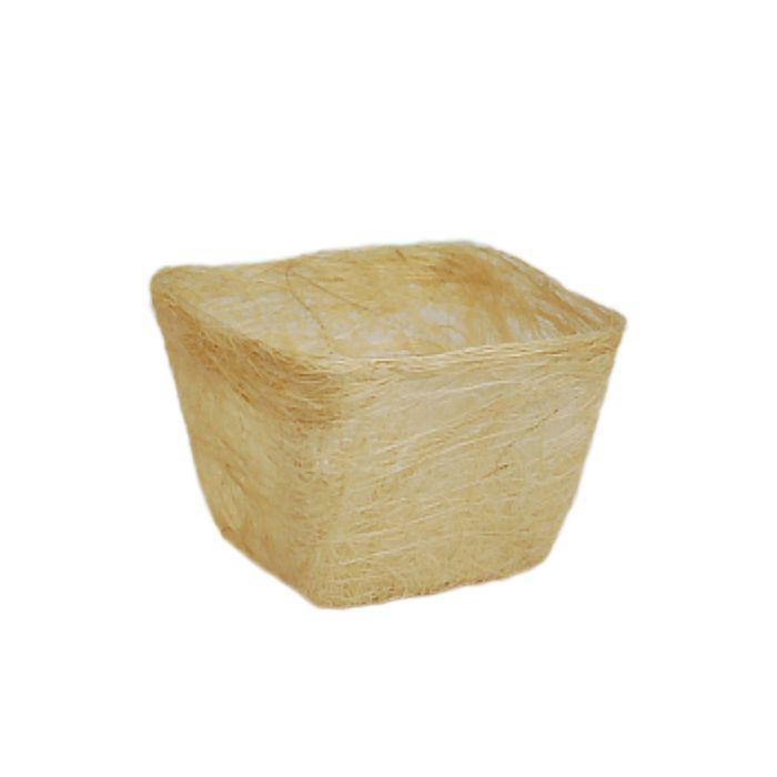 Кашпо, сизаль, квадрат, отбеленная 10 х 14 х 14 см