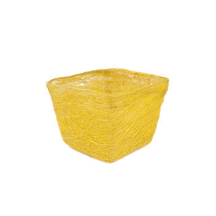Кашпо, сизаль, квадрат, лимонная 10 х 14 х 14 см