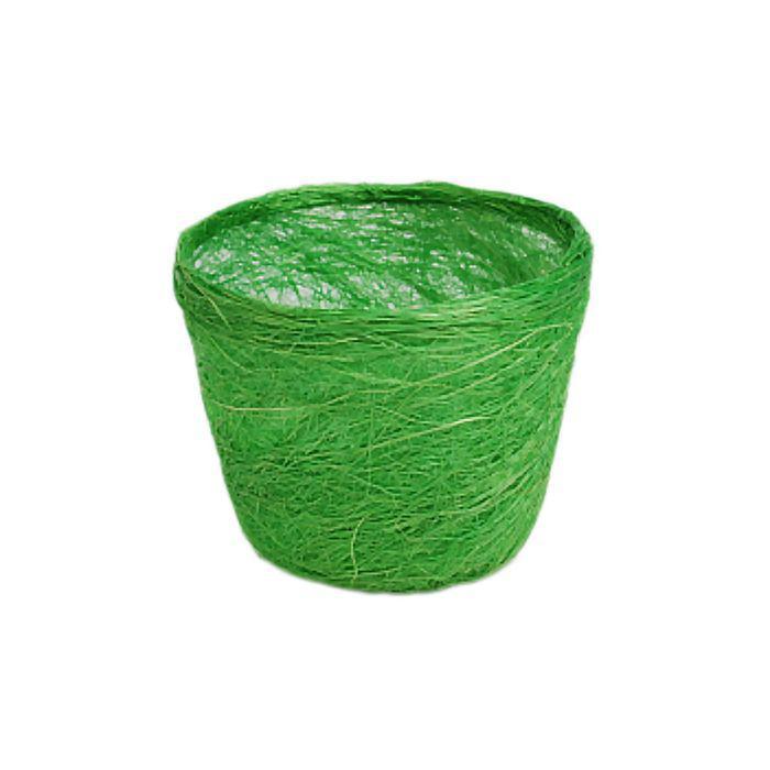 Кашпо, сизаль, круг, салатовая 10 х 12 см
