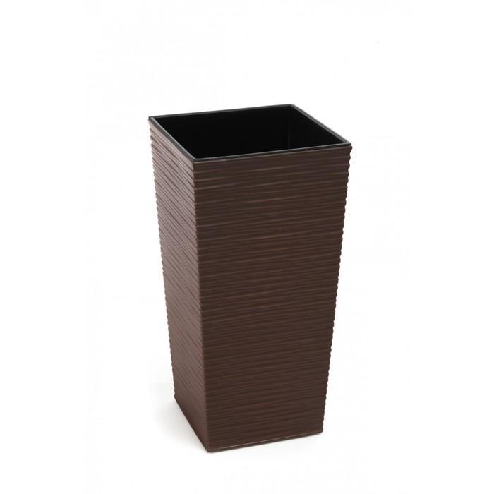 Пластиковый горшок с вкладышем «Финезия», цвет коричневый