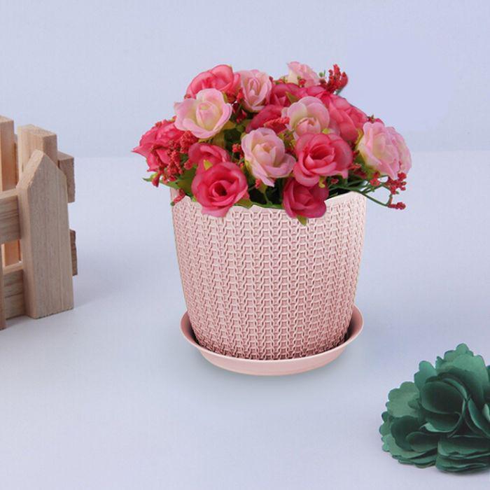 """Кашпо с поддоном 1,4 л, d=13,5 см """"Вязание"""", цвет чайная роза"""