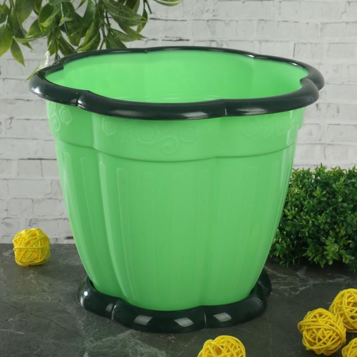 """Горшок для цветов с поддоном 3 л """"Восторг"""", цвет зеленый"""